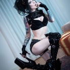 Razor Candi in 'Gothic Slut in Torn Fishnets and Stiletto Heels with Black Toy'